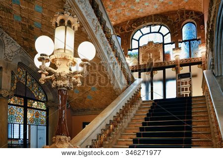 BARCELONA, SPAIN – MAY 13, 2019: Beautiful interior patterns and decorations of the Palau de la Musica Catalana ((Palace of Catalan Music) Hall.
