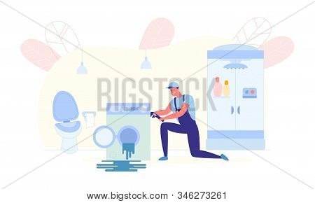 Home Washing Machine Repair Service, Illustration. Man In Working Uniform Bent Down For Convenience