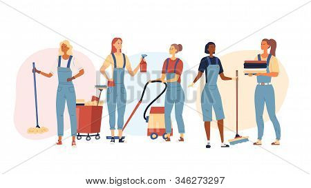 Cleaning Company Concept. Design Of Cleaning Staff Characters Female With Tools For Professional Cle