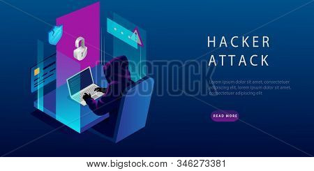 Isometric Internet Hacker Attack And Personal Data Security Concept. The Hacker At The Computer. Com