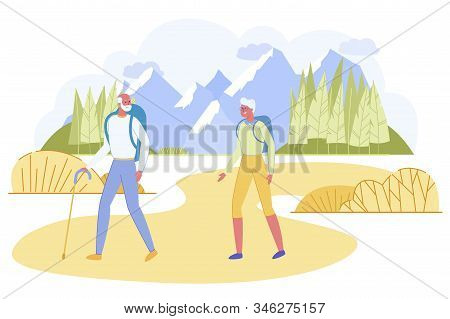 Active Senior Couple With Backpacks Hiking At Highland With Rocks Around. Happily Smiling Mature Man