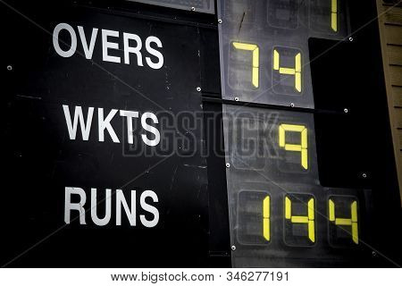 Cricket Scoreboard Showing Wickets And Runs Scored