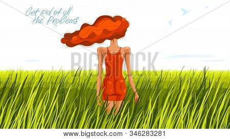 Slim Young Girl From Back Stands In A Grass Field Vector Illustration, Grassland Meadow Tranquil Sce