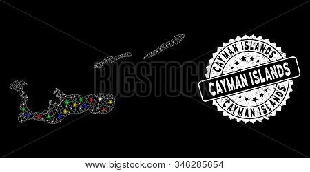 Bright Mesh Cayman Islands Map With Glow Effect, And Seal Stamp. Wire Carcass Triangular Cayman Isla