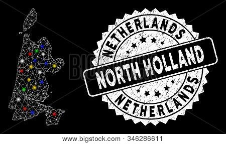Bright Mesh North Holland Map With Glow Effect, And Seal. Wire Carcass Triangular North Holland Map