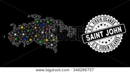 Bright Mesh Saint John Island Map With Lightspot Effect, And Seal Stamp. Wire Carcass Triangular Sai