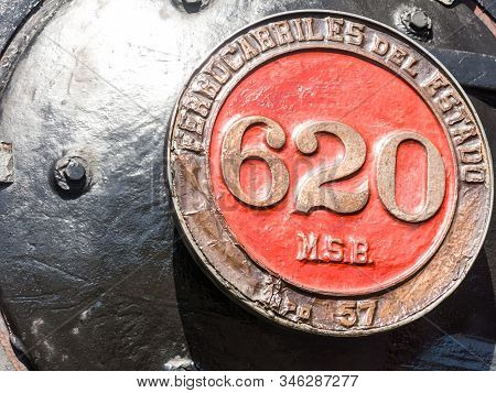 Antilhue, Chile, January 14, 2018: Old Stamp Railways Of The State Of Chile On The Locomotive. Of Tr