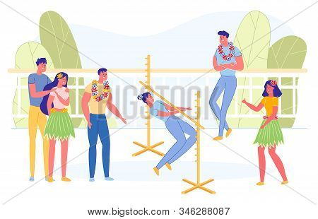 People Dancing Limbo Outdoor Flat Cartoon Vector Illustration. Competing In Contest With Friends. Wo