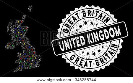 Bright Mesh United Kingdom Map With Glow Effect, And Watermark. Wire Frame Triangular United Kingdom