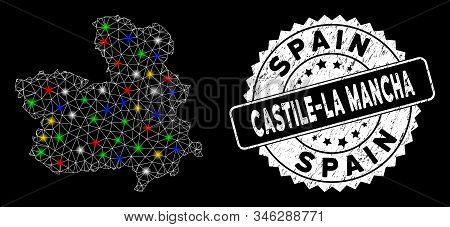 Bright Mesh Castile-la Mancha Province Map With Lightspot Effect, And Rubber Print. Wire Frame Trian