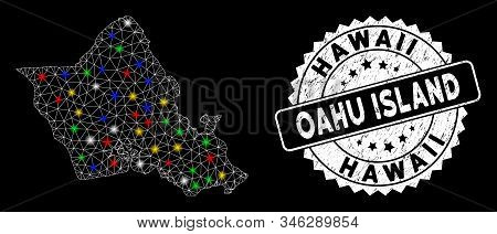 Bright Mesh Oahu Island Map With Lightspot Effect, And Stamp. Wire Carcass Polygonal Oahu Island Map