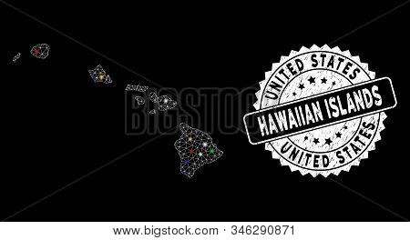 Bright Mesh Hawaiian Islands Map With Glare Effect, And Seal Stamp. Wire Frame Polygonal Hawaiian Is