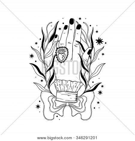 Hand Magic Inspiration Fortune Chiromancy.occult Mystic Symbol, Graphic Design Tattoo. Esoteric Sign