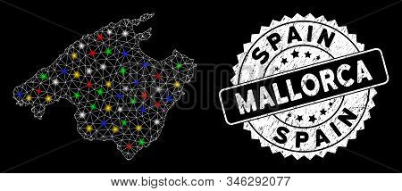 Bright Mesh Mallorca Map With Glow Effect, And Stamp. Wire Frame Polygonal Mallorca Map Mesh In Vect
