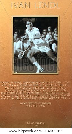 Ivan Lendl plaque at US Open Court of Champions