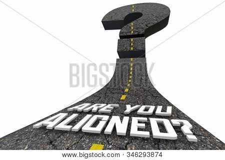 Are You Aligned Words Road Alignment Same Direction 3d Illustration