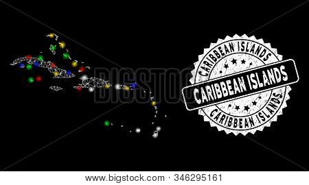 Bright Mesh Caribbean Islands Map With Glare Effect, And Seal. Wire Carcass Polygonal Caribbean Isla