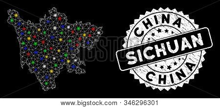 Bright Mesh Sichuan Province Map With Glare Effect, And Rubber Print. Wire Carcass Polygonal Sichuan