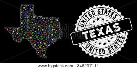 Bright Mesh Texas Map With Glare Effect, And Seal Stamp. Wire Frame Triangular Texas Map Mesh In Vec