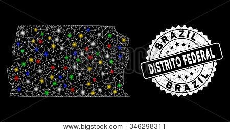 Bright Mesh Brazil Distrito Federal Map With Glare Effect, And Stamp. Wire Frame Triangular Brazil D