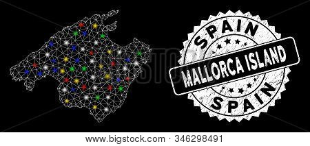 Bright Mesh Spain Mallorca Island Map With Glare Effect, And Rubber Print. Wire Carcass Triangular S
