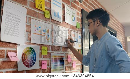 Asian Creative Man Writing Business Plan, Asia Office Male Note Ideas On Paper Work Ideas With Conce