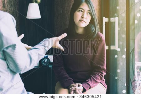 Professional Psychiatrist Talking And Counsel To Woman Patient,suicide Prevention,mental Health Care