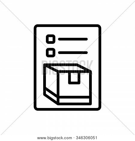 Black Line Icon For Inventory Merchandise Storage Cargo Goods Packing List
