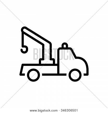 Black Line Icon For Tow-truck Tow Truck Transportation Carrier Crane