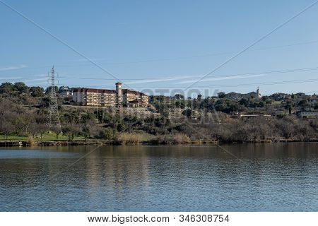 Marble Falls, Tx - 20 Jan 2020: Landscape View Of The Beautiful Colorado River