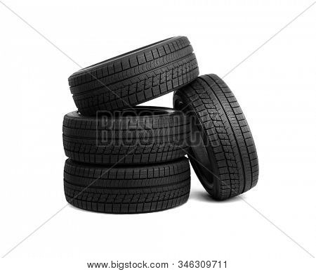 Car tires isolated on white