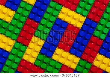 Plastic building blocks multicolor background