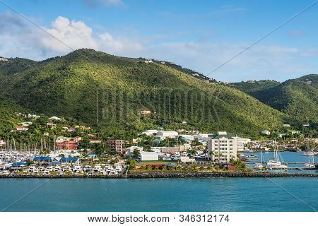 Road Town, Tortola, Tvi - December 16, 2018: Coastline Along A Road Town In Tortola, Bvi. The Wooded