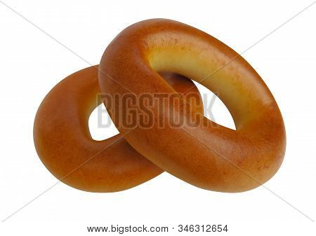 Freshly Baked Bagels, Isolated On White Background. Clipping Path Included.