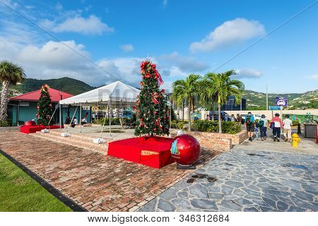 Road Town, Tortola, Bvi - December 16, 2018: Christmas Tree In The Tropics, On The Waterfront Of The