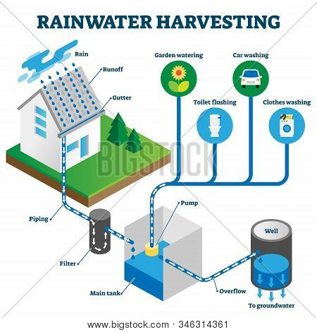 Rainwater Harvesting System Isometric Diagram, Vector Illustration Scheme With Hose Roof Water Runof