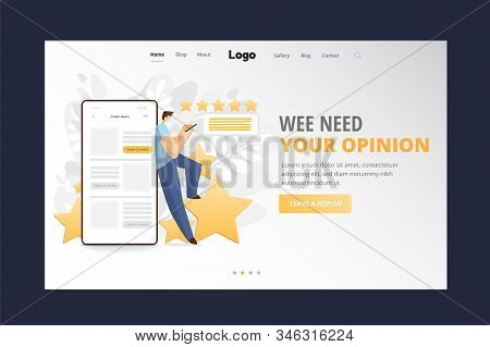Feedback, Survey Vector Flat Landing Page Concept With People, Man Standing On Big Rating Stars, Wri