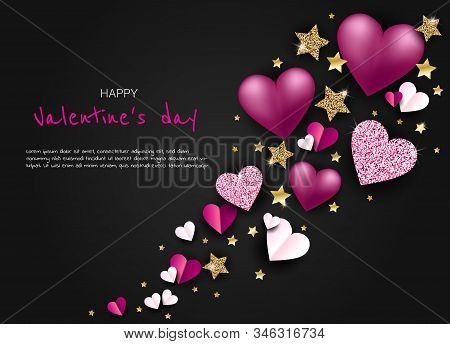 Valentine's, valentine day, Valentine's Day background, Valentine's day banners, Valentine's Day flyer, Valentine's Day design, Valentines Day with Heart on black background, Copy space text area, vector illustration.