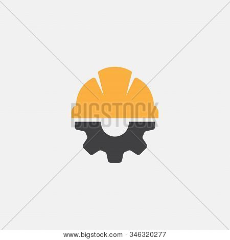 Helmet Construction With Gear Vector Icon Design, Helm Logo Gear Vector
