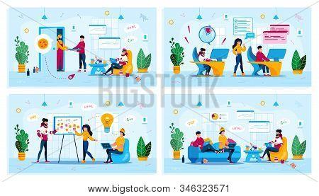 Distant Work, Project Development Meeting, Freelance Work Trendy Flat Vector Concepts Set. Freelance