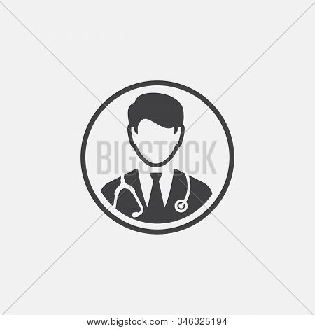 Doctor With Stethoscope Icon Design, Physician Doctor Flat Vector Icon For Apps And Websites, Doctor