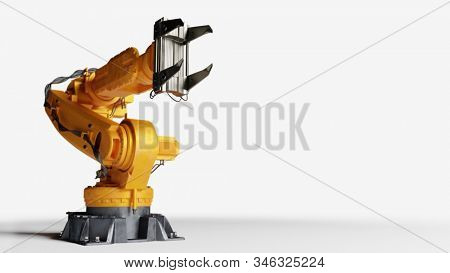 Industrial robotic arm isolated on white. Modern heavy industry, technology and machine learning. 3D rendering