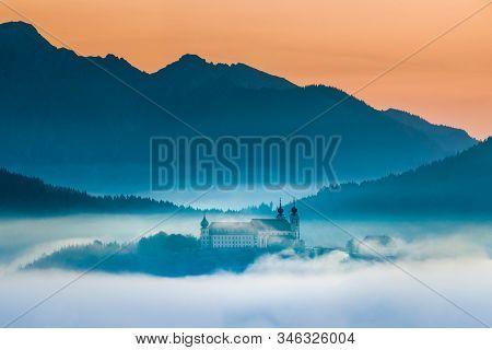 Wallfahrtskirche Frauenberg An Der Enns During Sunrise Above Clouds, Ardning, Austria
