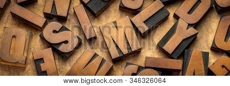 vintage letterpress wood type printing blocks, letters on handmade bark paper, panoramic banner, craftsmanship concept