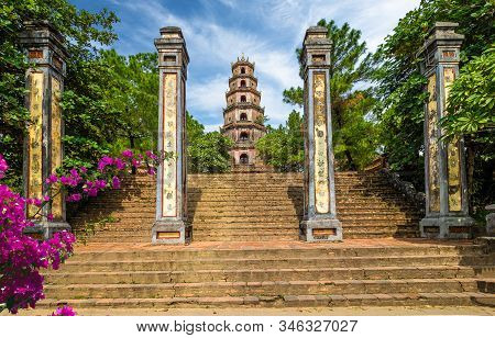 Thien Mu Pagoda, Historic Temple In The City Of  Hue In Vietnam
