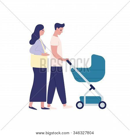 Mother And Father With Baby Carriage Flat Vector Illustration. Parenting, Family Couple Together Iso