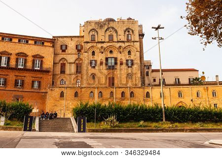 Palermo, Italy - December, 19: The Norman Palace Or Royal Palace Of Palermo Seat Of The Sicilian Reg