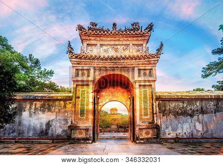 Historic Tu Duc Tomb In The City Of  Hue In Vietnam