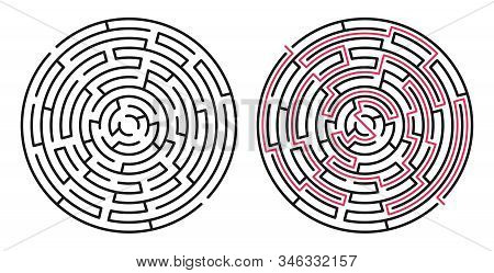 Abstract Maze / Labyrinth With Entry And Exit. Vector Labyrinth 281.