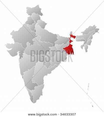 Karta över Indien, Västbengalen belyst